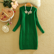 2016 Autumn Winter Ladies Thicken Knitted Sweater Dress Korean Style Women Solid Knitting Dresses Woman Fashion Clothes