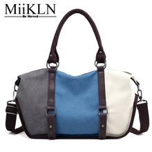 MiiKLN New Collection Women Canvas Bags Nice Panelled Ladies Canvas Tote High Quality Easy Washing Female Shoulder Crossbody Bag(China)
