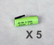 5PCS 1.2V 2/3AAA rechargeable battery 400mah 2/3 AAA ni-mh nimh cell with tab pins for electric shaver razor cordless phone
