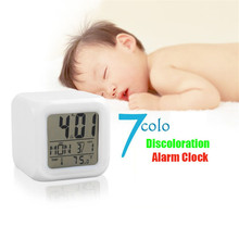 7 Colors Change Glowing Led  Digital Alarm Clock  Mini Desk  Digital  Thermometer Display   Cube LCD Clock Kid Clock Alarm Radio