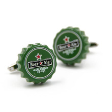 iGame Factory Price Retail Fashion Cufflinks Green Color Novelty Beer Bottle Cap Design Brass Cuff Links