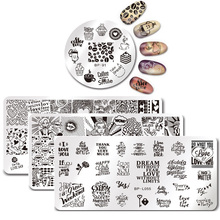 BORN PRETTY Nail Stamping Coffee Time Mix Series Cute Cats Plant Nail Art Stamp Image Template Manicure Stencils Nail Decoration