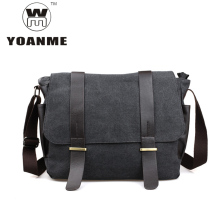 YOANME High Quality Canvas Messenger Bag Casual Travel Crossbody Bag Side Pockets Men Shoulder Messenger Bag Men Side Bag SY1046