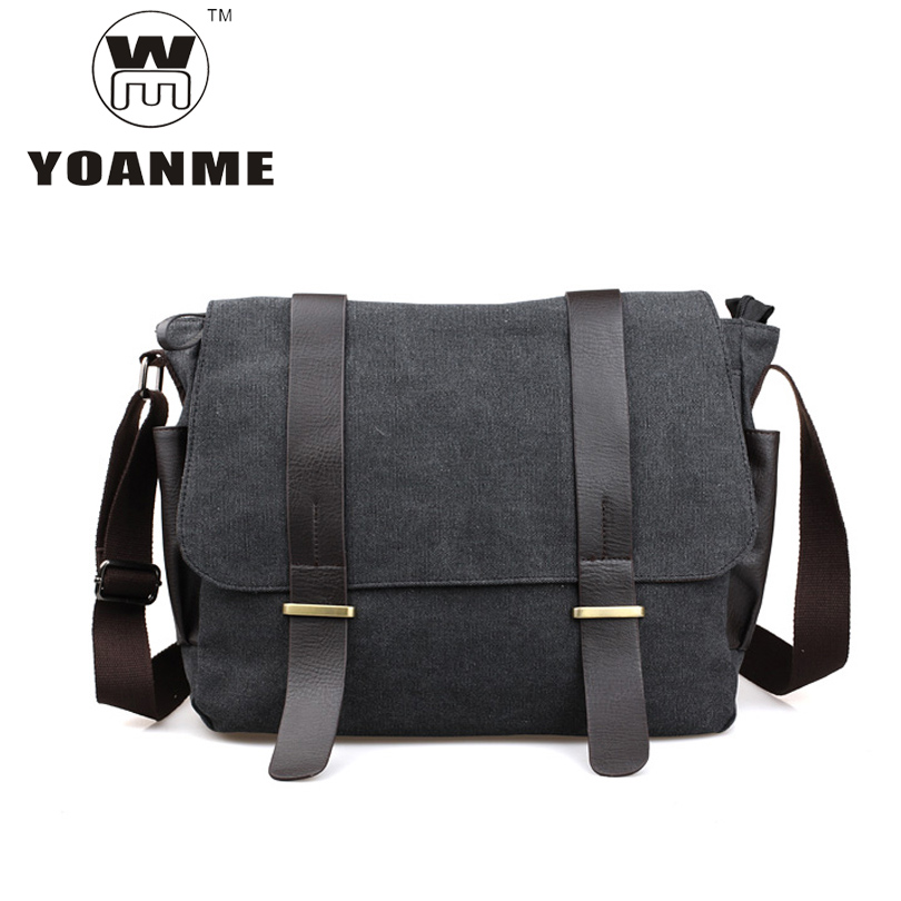 YOANME High Quality Canvas Messenger Bag Casual Travel Crossbody Bag Side Pockets Men Shoulder Messenger Bag Men Side Bag SY1046(China)