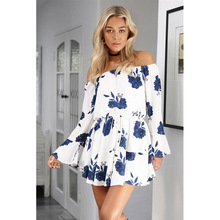 Buy TEMOFON Women Summer Sexy Dress Print Beach Party Boho Dresses Slash Neck Mini Sundress Flare Sleeve Casual Female Dress ALD709 for $9.55 in AliExpress store