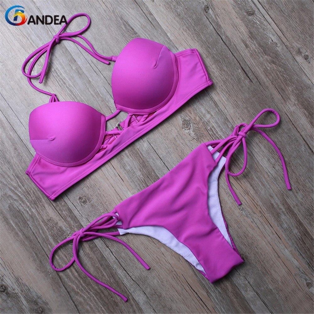 BANDEA bikini set push up swimwear women swimsuit solid vintage bathing suits halter swimwear lace up bathing suit women HA680<br><br>Aliexpress