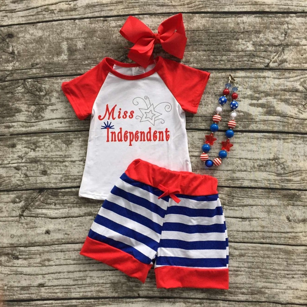 baby girls summer shorts clothing children July 4th Patriotic clothes Miss Independent outfits with necklace and bows(China (Mainland))