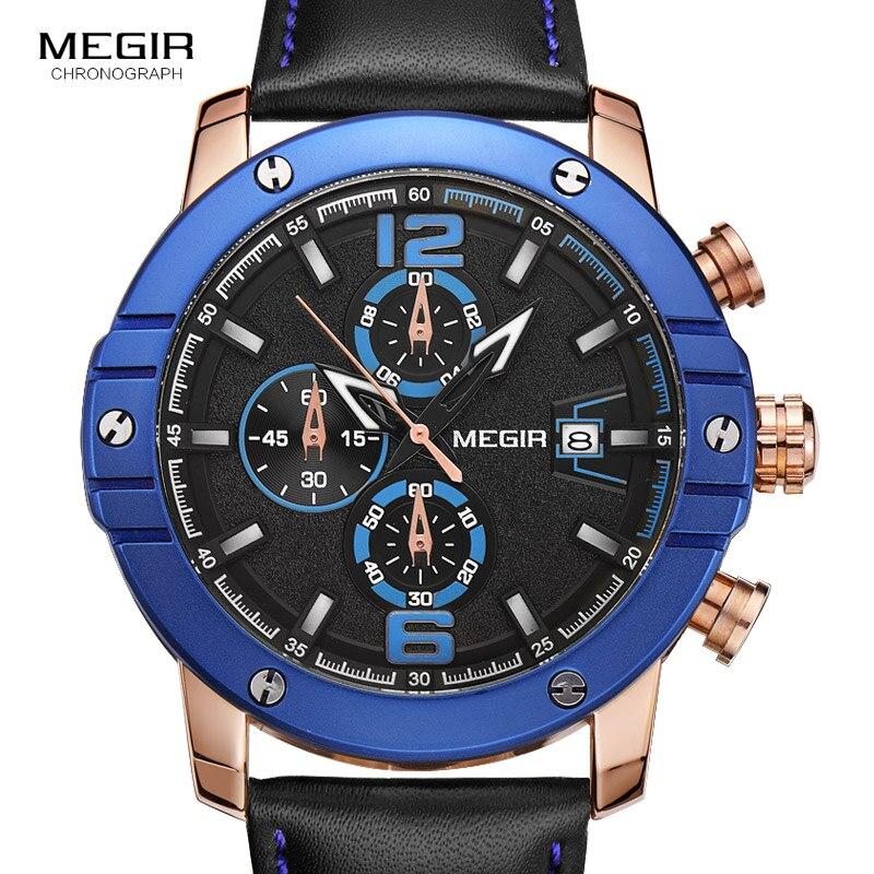 MEGIR Chronograph Luminous Black Leather Starp Quartz Watches for Men Big Round Dial Sport Wristwatch with Date for Man 2046<br>