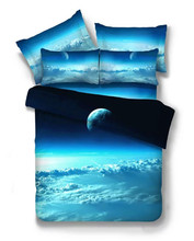 Hot Sale 3D Galaxy Blue Color Clouds Planet Pattern Duvet Cover Sets Bed Set For Bedroom(China)