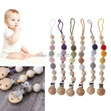 Buy Baby Wooden Beaded Pacifier Holder Clip Nipple Teether Kids Dummy Strap Chain J26 Drop for $2.58 in AliExpress store