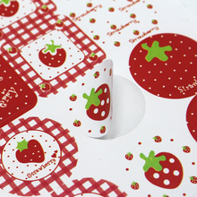 "DHL 8000Pcs/ Lot 2.8cm Round & Square "" Strawberry "" Self Adhesive Party Sticker For Dessert Baked Goods 1.1inch Paper Label(China)"