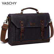 VASCHY Briefcase for Men Vintage Canvas Messenger Bag Laptop Satchel Shoulder Bag Bookbag with Detachable Strap Briefcase Men(China)