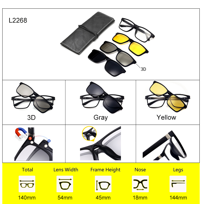Ralferty 2018 Multi-Function Magnetic Polarized Clip On Sunglasses Men Women Ultra-Light TR90 3D Yellow Night Vision Glasses 13
