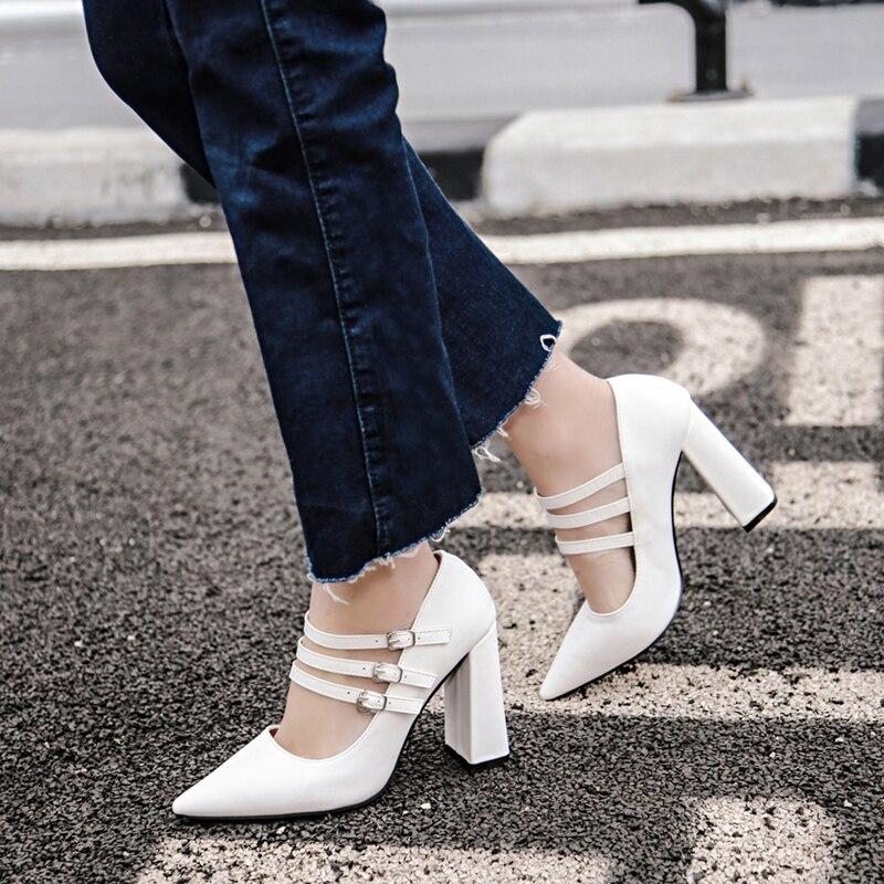 Korea Style Fashion Retro Classis Pumps PU Leather Buckle Strap High Heel Women Block Thick Heels Lolita Shoes Woman Wedding<br><br>Aliexpress