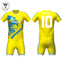 customized yellow and blue blank dry fit sport soccer shirt supplier(China)