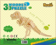 3D Wooden Puzzle Dinosaur DIY Model Building Kits for Kids Children(China)