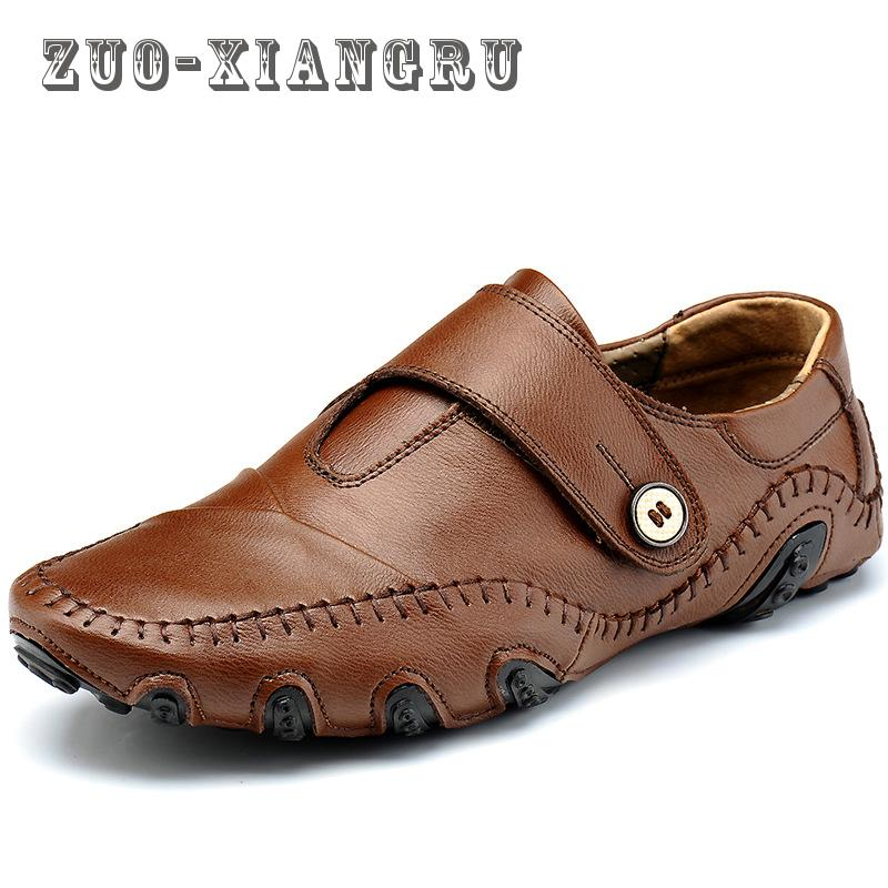 Summer Men Loafers New Casual Shoes Slip On Fashion Drivers Loafer Genuine Leather Mens Casual Shoes Genuine Leather Men Shoes<br>