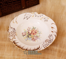 "Porcelain soup plates bone china flowers design embossed outline in gold round shape 8.5"" soup plate soup dish deep plate"