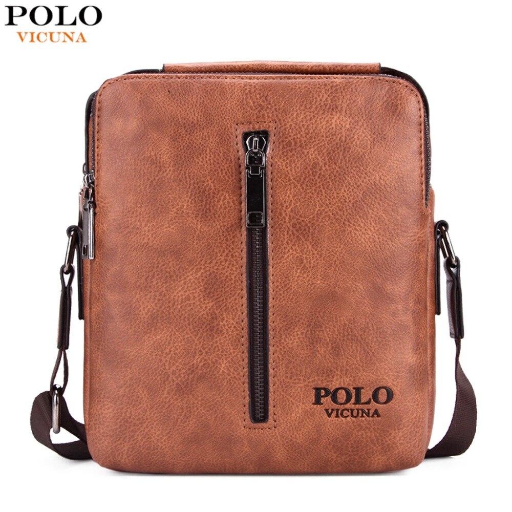 VICUNA POLO Retro PU Material bolsas de ombro Casual Men Messenger bag With Vertical Zipper Silt Pocket Leisure Leather Bags Man<br>