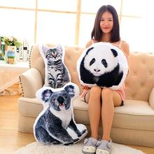 Creative 3D Cute Animal Pillow Cat Dog Shape Throw Pillow soft car cushions sofa pillow best boys and girl Christmas gift toy W3(China)