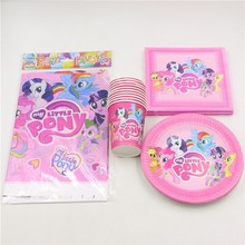61pcs\lot Kids Favors Tablecloth Happy Birthday Party Paper Plates Decoration Cups My Little Pony Napkins Baby Shower Supplies