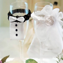 Fashion 2 Pcs/Set Creative Bride&Groom Costume Party Goblet Wedding Cups Cover Wine Glasses Decor Gift