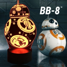 NEW Cartoon Star Wars 3D LED Bulb LAMP Action Figure Gift Toys BB-8 Ball Robot RGB Mood Night Light Children Table USB Lighting(China)