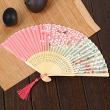 Bamboo Fan Birthday Halloween Props Wedding Gifts Christmas Decorations Silk Folding Fan Japanese Cherry Event & Party Supplies