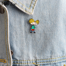 Miss Zoe Enamel Afro-hair cool boy pin Cartoon figure Brooch Denim Jacket Pin Buckle Shirt Badge Gift for Kids Friends(China)