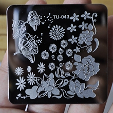 Charming Spring Nail Art Stamp Template Image Plate Daisy Lotus Flower Stencils Stainless Steel Nails Stamping Plate TU-043(China)