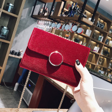 Augur Chain small bag female 2017 small square bag velvet handbag Messenger bag mini shoulder bag(China)