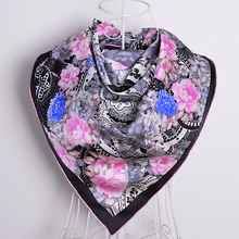 [BYSIF] Winter Brand Black Pink Silk Scarf Shawl New Spring Autumn Plailey Women 100% Mulberry Silk Twill Squre Scarves 90*90CM(China)
