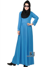 Blue color islamic clothing for women long sleeve Chiffon muslim women dress 0070 wholesale and dropshipping(China)