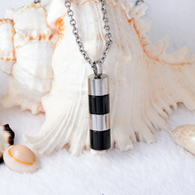 Cylinder Cremation Urn Pendant Necklace For Ashes Funeral Urn Casket Memorial Jewelry Ash Holder Accessories 20'' Link Chain(China)