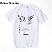 Suicide Squad T Shirt Men Short Sleeve Funny Joker Tattoo HAHA Printed Tee Shirt For Male Harajuku Cool Tshirt Homme