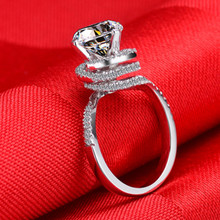 2CT Top Luxury Twist Arms Certified Moissanite Wedding Ring Pure 18K White Gold Ring For Bride Fine Jewelry Gift For Her