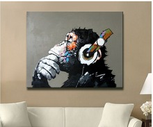 2017 Rushed Fallout Hand-painted New Popular Products Free Shipping Oil Painting Canvas Monkey Sitting Room Adornment No frame