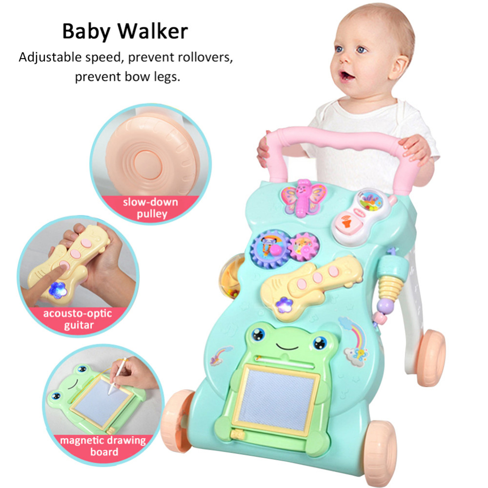 Baby Walker Baby First Steps Car Toddler Trolley Sit-to-Stand Walker for Kids Early Learning Educational Musical Learn to Walk<br>