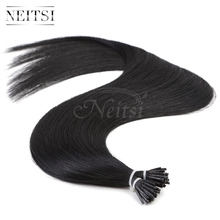 "Neitsi Stick Tip I Tip Keratin Human Hair Extensions Indian Virgin Remy Soft Fusion Hair Pieces Straight 20"" 1# 1g/s 50g 100g"