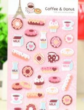 Pretty Cartoon Cake Icecream Coffee Printed Felt Sticker DIY Nonwoven Felt Fabric