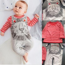 Factory Price! 2PCS Baby Boy Sets Kid Outfits Striped Shirts+Romper Jumpsuit Outfit Set Clothes 0-3Y