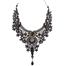 HOT! Women's Black Lace Alloy Waterdrop Pendant Statement Bib Choker Party Necklace  AQKU