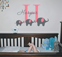Newest Arrived Cute Elephant Personalized Kids Name Wall Sticker Vinyl Wall Sticker For Children Bedroom Art Decoration Y-599