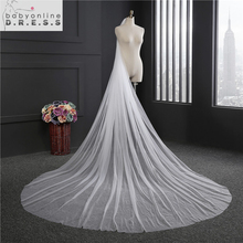 2017 Elegant Wedding Veil 3 Meters Long Soft Bridal Veils With Comb One-layer Ivory White Color Bride Wedding Accessories(China)