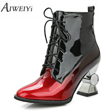 AIWEIYi Womens Plus size 34-44 Ankle Boots Strange Heel Lace up Platform Shoes Gold Autumn Winter Fur Black Ankle Booties