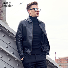 Enjeolon brand black colol Motorcycle Leather PU Jackets Men, turn down collar fashion winter coat Male Casual Coats P344(China)