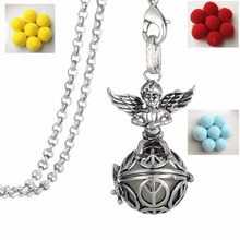 Clearance fashion jewelry locket charm necklace angel wings Essential Oil Diffuser Necklace Perfume Jewelry for girls