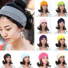 8c19ac5297b3 Femmes Filles Large Yoga Sport Bandeau Stretch Bandeau Élastique Bande De  Cheveux Head Wrap Turban Chaud