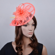 Coral pink,turquoise blue,black/white,hot pink,bronze feather fascinator sinamay fascinator formal dress hat for wedding.