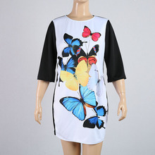XL-6XL Plus Size women dress Sweet butterfly floral printed summer Dress Big Size Women Clothing 2016 fat Elegant women dress(China)